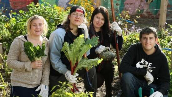Caz Reardon, Trent Barnes, Rachael Burns and Jene Gangi are transforming a barren space in Brunswick into an urban food garden.